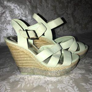Gianni Bini Mint Green Wedge Heel Sandals